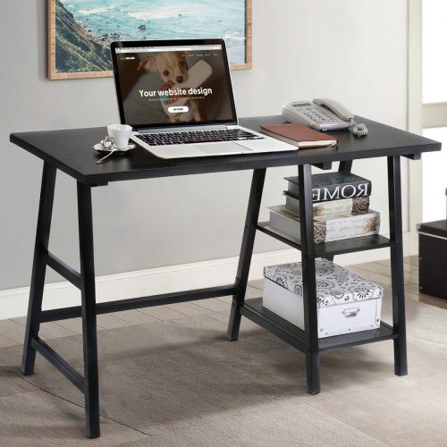 TANGKULA Computer Writing Study Trestle Desk Modern Vintage Home Office Furniture (Black) - Study Tables