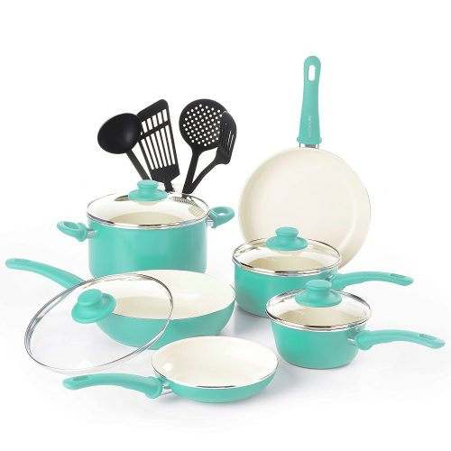 reenLife CW000531-002 Soft Grip Absolutely Toxin-Free Healthy Ceramic Nonstick Dishwasher/Oven Safe Stay Cool Handle Cookware Set