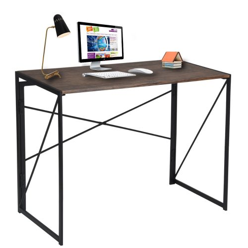 Writing Computer Desk Modern Simple Study Desk Industrial Style Folding Laptop Table for Home Office Brown Notebook Desk - Study Tables