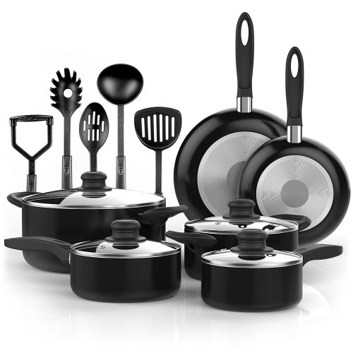 Vremi 15 Piece Nonstick Cookware Set; 2 Saucepans and 2 Dutch Ovens with Glass Lids, 2 Fry Pans, and 5 Nonstick Cooking Utensils; Oven Safe