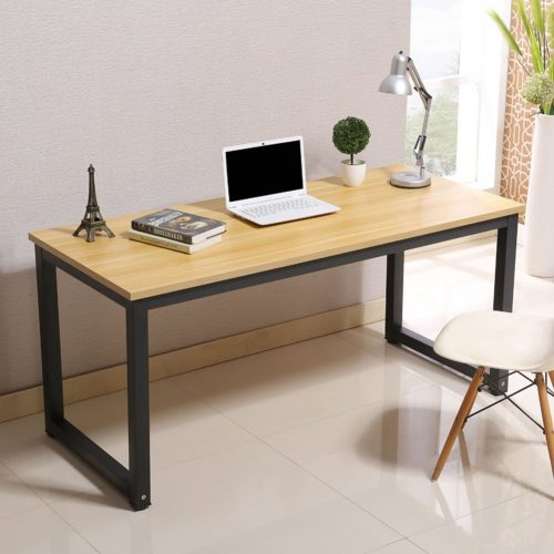 Modern Simple Style Computer Desk PC Laptop Study Table Office Desk Workstation for Home Office, Walnut, Black Leg L47.2 X W23.6 X H29.1 Inch - Study Tables