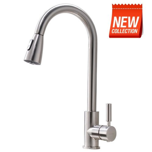 VAPSINT Modern Stainless Steel Single Handle Single Hole Brushed Nickel Pull Out Spray Kitchen Faucet, Pull-Down Kitchen Sink Faucet