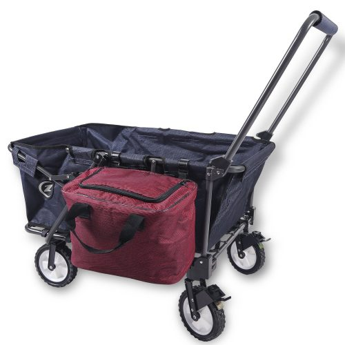 REDCAMP Collapsible Wagon Cart, Folding Utility Wagon All Terrain Outdoor Beach Sports (Navy Blue + Bag)