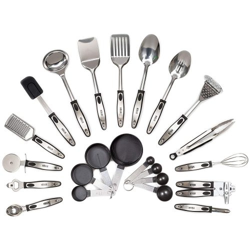 HULLR 23-Piece Stainless Steel Kitchen Utensils, All Purpose Cookware Utensil Set