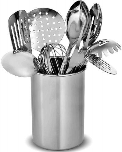 FineDine Premium Stylish 10-Piece Kitchen Utensil Set, Modern Stainless Steel Gadgets for Everyday Cooking