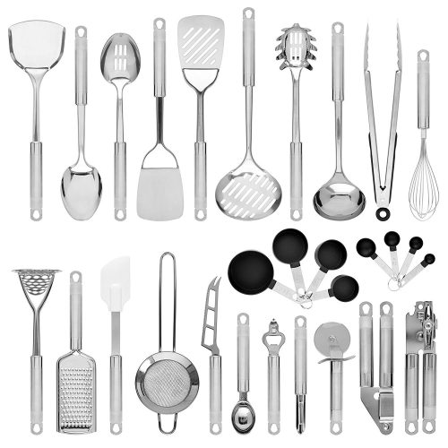Best Choice Products Set of 29 Stainless Steel Kitchen Cookware Utensils Set w/Spatulas, Can and Bottle Openers, Measuring Cups, Whisk, Ladles, Tongs, Pizza Slicer, Grater, Strainer - Silver