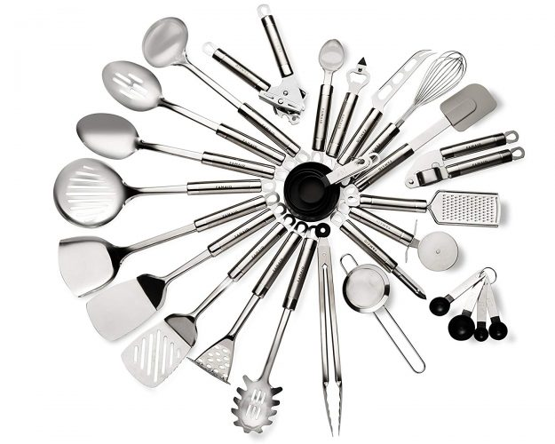 29 Piece Stainless Steel Kitchen Utensils Set – Durable, Non-Stick Coating, Ergonomic Handle & Dishwasher Safe Cookware – Heat Resistant Silicone Bent Handles For Superior Grip – Great Gift Idea