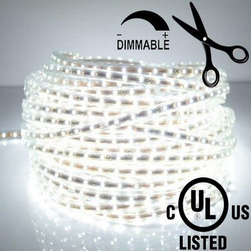 LEDJump Bright Pure White Dimmable 300 Lights LED Tape Flexible Strip 16.4Ft/5Meter 12 Volts 3M Adhesive, For Party Home Kitchen Decor Auto Car Under Cabinet Mirror Marine Hallway Windows Showcase UL