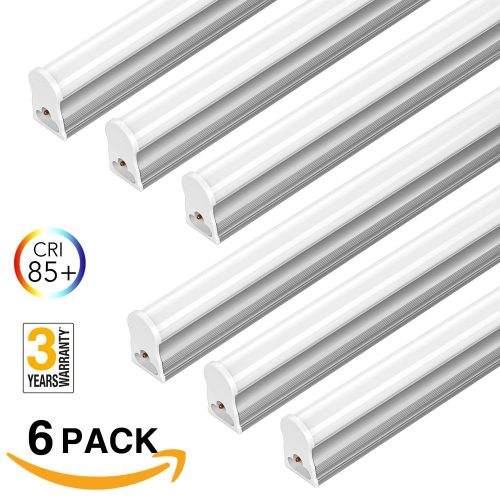 FrenchMay LED T5 mini utility linkable shop light 4ft, 22W, 85CRI, 2200Lumens, 5000K, 32w Fluorescent Equivalent, integrated ceiling light & under Cabinet shop light for garage, workshop, basement