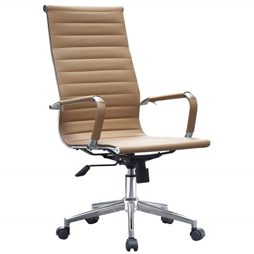 2xhome - Tan Modern High Back Tall Ribbed PU Leather Swivel Tilt Adjustable Chair Designer Boss Executive Management Manager Office Conference Room Work Task Computer