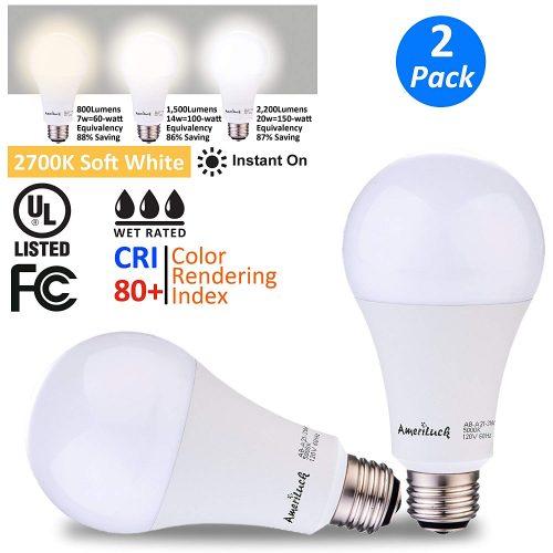 AmeriLuck 3-Way LED Light Bulbs - 50/100/150W Equivalent
