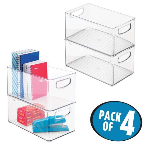"mDesign Office Organizer Bins for Pens, Pencils, Note Pads, Staples, Tape - Pack of 4, 10"" x 6"" x 5"", Clear - Plastic Storage Bins"