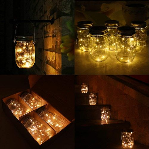 6-Pack Solar-powered Mason Jar Lights 20 LEDs (6 Hanger Included / No Jar), Warm White Glass Waterproof Fairy Hanging Lighting, Outdoor String Lids for Regular Mouth Jars for Patio Lamp Décor
