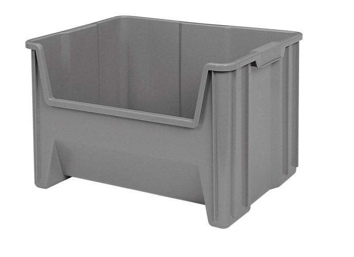 Akro-Mils 13017 Stak-N-Store Stacking Hopper Front Plastic Storage Bin, Grey, Case of 3 - Plastic Storage Bins
