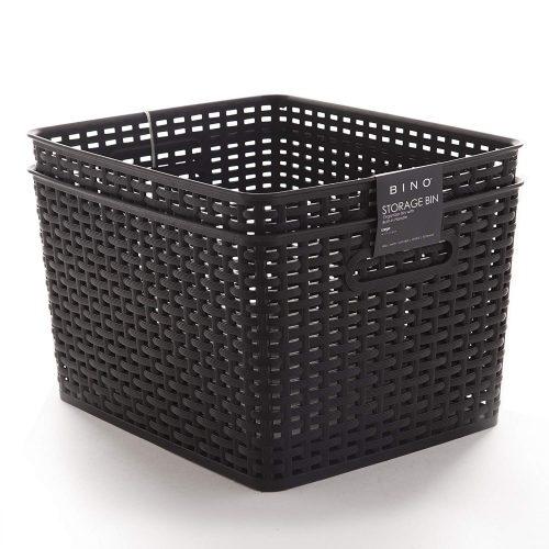 BINO Woven Plastic Storage Basket, Large– 2 PACK (Black) - Plastic Storage Bins