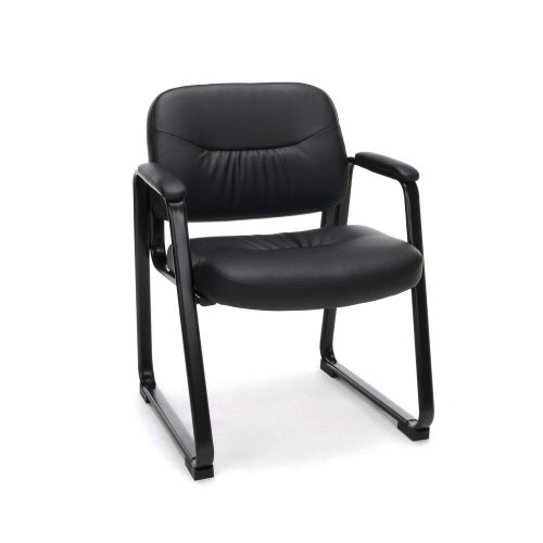 Essentials Leather Executive Side Chair - Guest/Reception Chair with Sled Base, Black (ESS-9015)