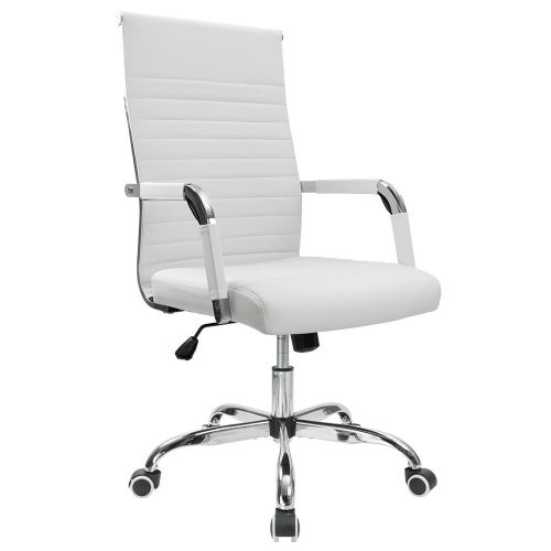 Furmax Ribbed Office Chair Mid-Back Leather Executive Conference Chair Adjustable Swivel Chair With Arms (White)