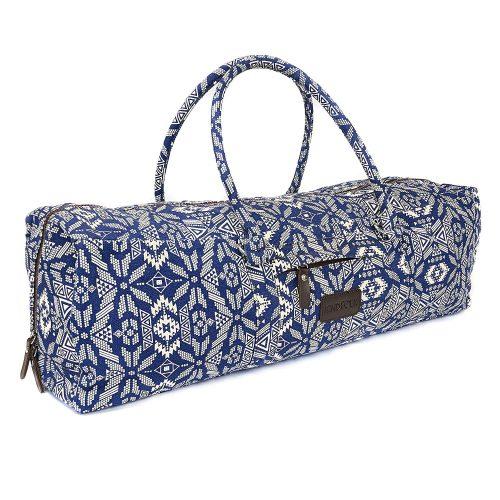 Kindfolk Yoga Mat Duffle Bag Patterned Canvas with Pocket and Zipper