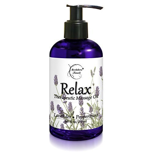 Relax Therapeutic Body Massage Oil - With Best Essential Oils for Sore Muscles & Stiffness – Lavender, Peppermint & Marjoram - All Natural