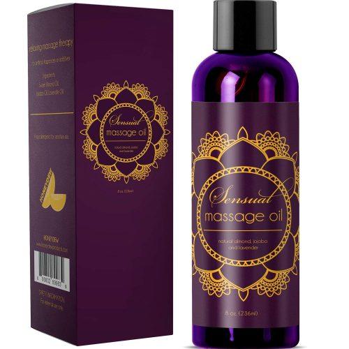 Sensual Massage Oil Pure Lavender Oil - Relaxing Almond & Jojoba Oil - Women & Men – 100% Natural Hypoallergenic Skin Therapy