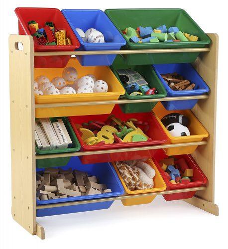 Tot Tutors Kids' Toy Storage Organizer with 12 Plastic Bins - Plastic Storage Bins