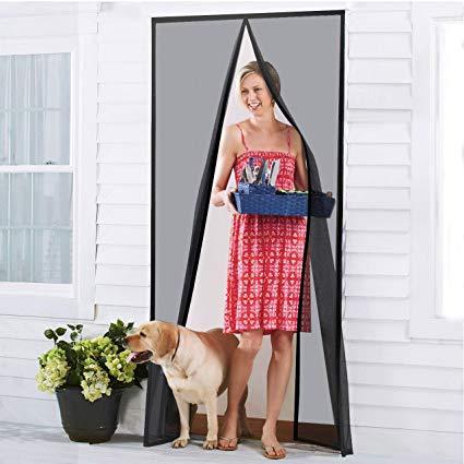 "Homitt Magnetic Screen Door with Durable Fiberglass Mesh Curtain and Full Frame Hook & Loop Fits Door Size up to 36""x82"" Max- Black"