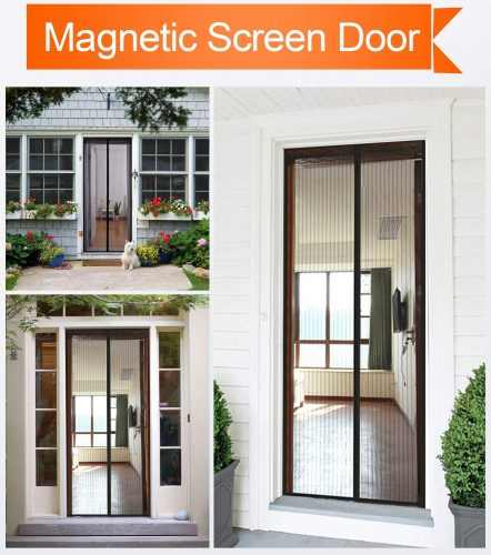 Magnetic Screen Door 36x83 inch, with Heavy Duty Mesh Curtain and Full Frame Velcro Fits Door Size 34Wx82H inch with Full Frame Velcro Front Door Screen- 36x83Inch, Black