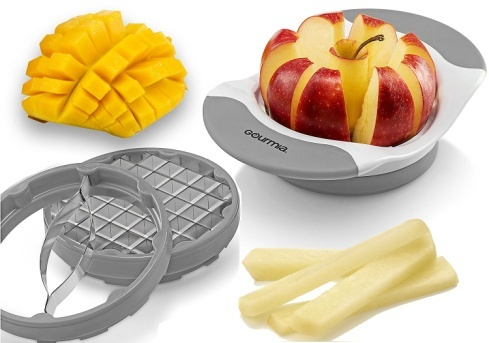 Gourmia 3 In 1 Handle Push Cutter, Mango, Apple Slicer & Corer With Bonus French Fries Blade, 3 Stainless Steel And Interchangeable Blades, Durable BPA free food safe material.