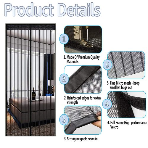 """TheFitLife Magnetic Screen Door - Heavy Duty Mesh Curtain with Full Frame Velcro and Powerful Magnets that Snap Shut Automatically - 48""""x83"""" Fits Door Size up to 46""""x82"""" Max"""