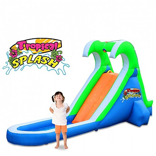 Blast Zone Tropical Splash Compact Backyard Water Slide - Inflatable Pool Slides
