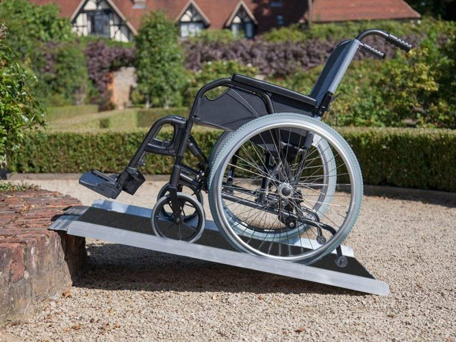 "Clevr 3' (36"" X 31"") Non-Skid Aluminum Wheelchair Loading Traction Ramp, Lightweight Folding Portable, Single Fold Wheelchair Scooter Ramp, Extra wide 31"", Holds up to 600 lbs"