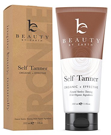 Self Tanner - Organic and Natural Ingredients Sunless Tanning Lotion and Best Bronzer Golden Buildable Light, Medium or Dark Gradual Tan for Body and Face 7.5 oz - Tanning Bed Lotions
