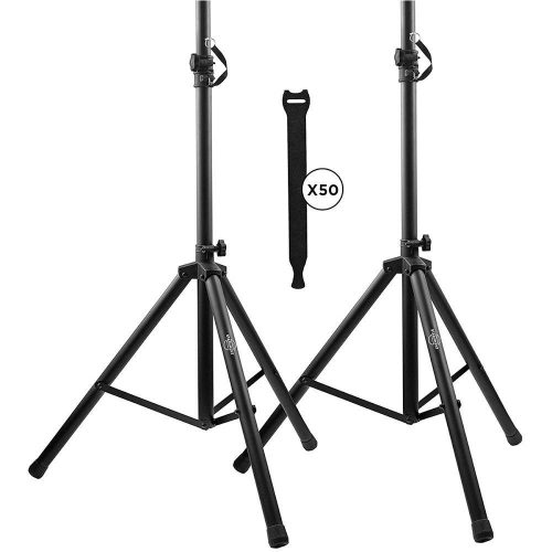 Pa Speaker Stands Pair Pro Adjustable Height with 50 Cable Ties Kit to Secure Cable to stand (2 Stands) 6ft Tripod Speaker stands by Starument - Speaker Stands