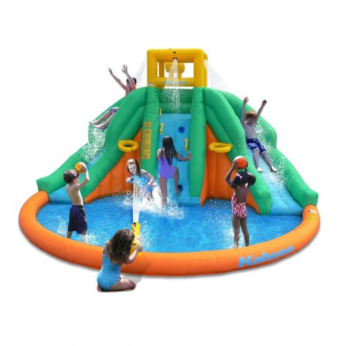 Kahuna Twin Peaks Kids Inflatable Splash Pool Backyard Water Slide Park - Inflatable Pool Slides