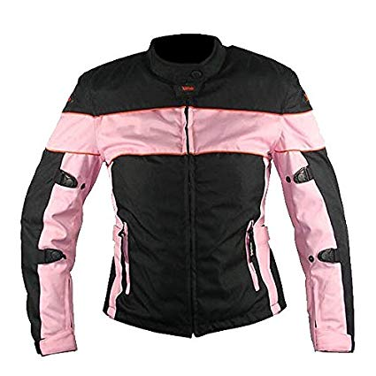 Xelement CF462 Women's Black/Pink Tri-Tex Fabric Motorcycle Jacket with Advanced