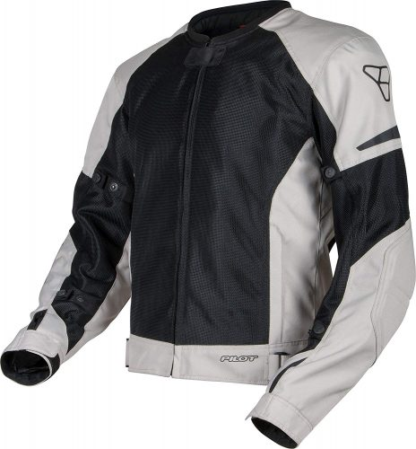Pilot Motosport Men's Slate Air Mesh Motorcycle Jacket (Silver, Large)