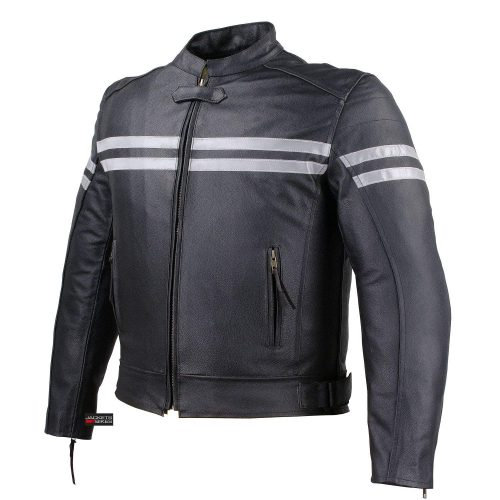 TRACK MOTORCYCLE BIKER ARMOR LEATHER JACKET BLACK L