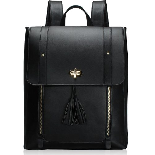 ESTARER Women PU Leather Backpack 15.6inch Laptop Vintage College School Rucksack Bag (black)