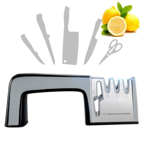 Knife Sharpener Scissor Sharpener, RIVERSONG Mother's Day gift Multi-functional Home Kitchen Knives Sharpening Tool 4-in-1 Manual System 3 Stage Knife Sharpening Non-slip Base with Ergonomic Design - Scissor Sharpeners