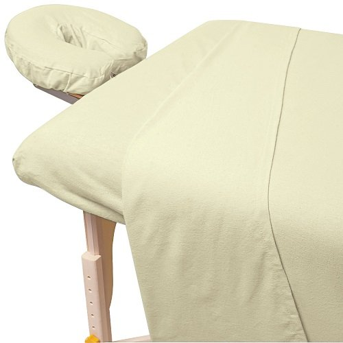 For Pro Premium Flannel Sheet 3 Piece Set, Natural - Massage Tables Sheet Cover
