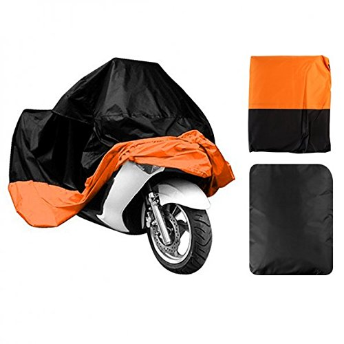 "LEANINGTECH All Season Black & Orange Waterproof Sun Motorcycle cover, Fits up to 108"" (XX-Large)"