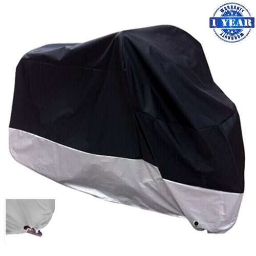 "XYZCTEM All Season Black Waterproof Sun Motorcycle Cover, Fits up to 108"" Motors (XX-Large & Lockholes)"