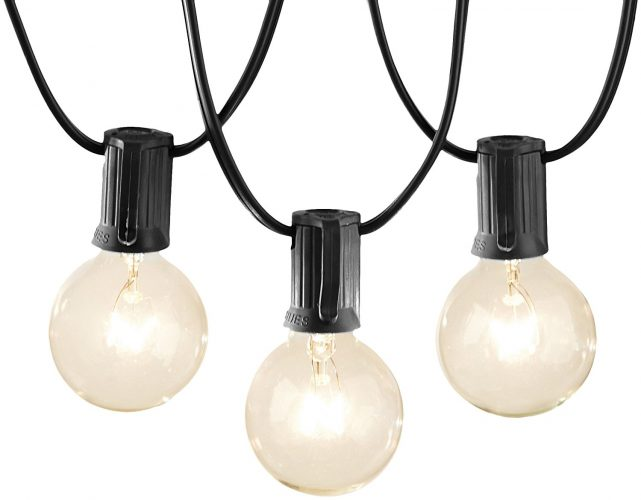 AmazonBasics Patio Lights, Black, 25' - outdoor string lights