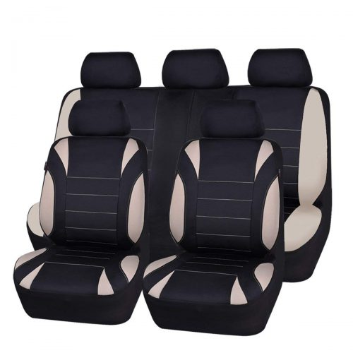 CAR PASS NEW ARRIVAL Waterproof Neoprene EVA 11 Piece Universal fit Car Seat Covers, Fit for SUVs, Vans, Trucks, Sedans, Airbag Compatible, Inside Zipper Design (Black and Beige)