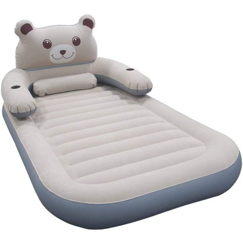 WeTong Twin Size Air Mattress, Inflatable Toddler Travel Bed Firm Airbed Portable Blow Up Mattress for Kids with Detachable Backrest Electric Pump for Home Travel Camping Hiking Backpacking 79x47x8in
