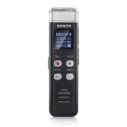 Voice Recorder Evistr 8GB Digital Audio Sound Recorder Dictaphone, Voice Activated Recorder with MP3 Player, Auto Saving File Every 5 Seconds - Portable Digital Voice Recorders