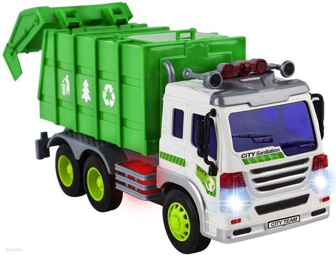 WolVol Friction Powered Garbage Truck Toy with Lights and Sounds For Kids (Can Open Back) - toy trucks