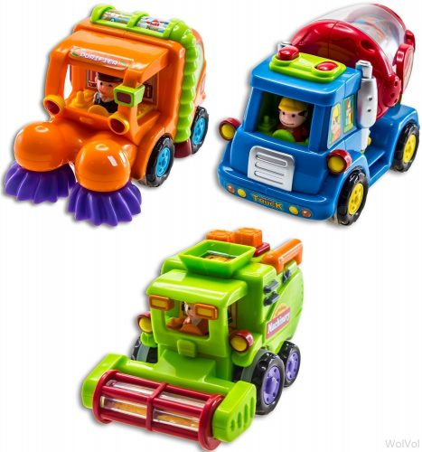 WolVol (Set of 3) Push and Go Friction Powered Car Toys for Boys - Street Sweeper Truck, Cement Mixer Truck, Harvester Toy Truck (Cars Have Automatic Functions) - toy trucks