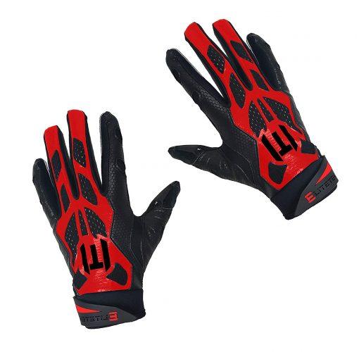 EliteTek E-17 Football Gloves Youth & Adult (Red, Adult Large)