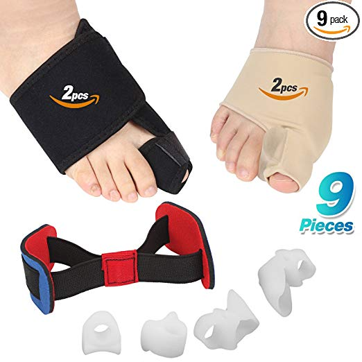Bunion Corrector, 9 pcs Bunion Corrector and Bunion Relief, Bunion Night Splint with Super Soft Gel for Foot Pain Relief, Hallux Valgus Splint Aid Surgery Treatment Toe Separators Straighteners